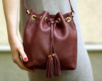 Free shipping! Leather bag, Burgundy bag, dark red bag, bucket bag, maroon bag, red bag, red bucket bag, shoulder bag, leather crossbody