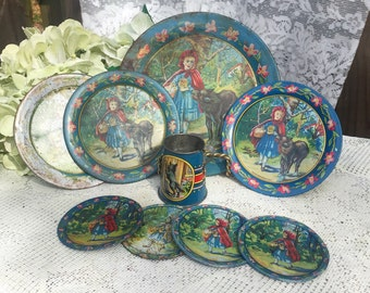 9 pc Rare Antique Little Red Riding Hood Ohio Art Tin Litho Garden Tea party set, Co Bryan, Metal, Fairy Tale, Cups, dishes, Plates Lot Toy