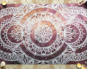 Rings of Light Mandala   High Quality White, Pink, Purple, Orange Mandala Art Print