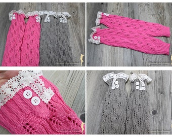 Women Knitted Leg Warmers Boot Toppers with Buttons and Lace Legwarmers in Gray