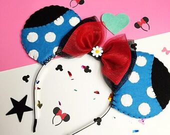 Classic Blue and White Polka Dot Minnie Mouse Ears Headband