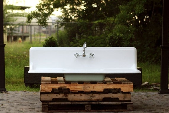 "Refinished Large 1927 Farm Sink High Back 60"" Double Drainboard American Standard Cast Iron Porcelain Farm Sink Package"