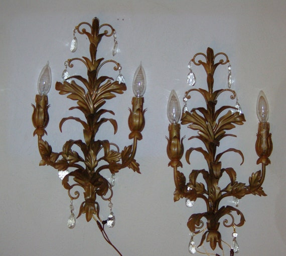Wall Sconces Pair of Crystal Sconces Gold Metal Sconces w