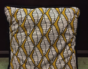 Mustard, Black, and White Diamond Shaped Patterned Pillow
