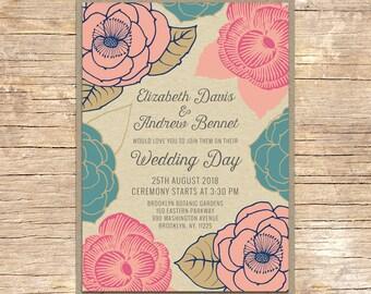 25 x Floral Wedding Invitation, Luggage Tag, Wedding Stationery, Outdoor Wedding, Modern Wedding, Garden Wedding, Floral Stationery