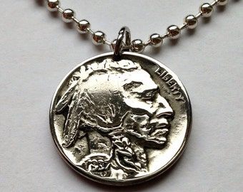 1937 USA 5 cent Buffalo Indian Head nickel coin pendant necklace jewelry native American Indian bison Chief Iron Tail No.000563