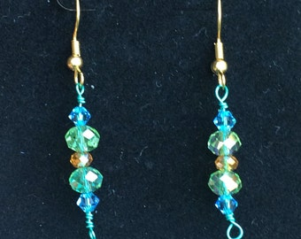 Blue, green and gold Crystal earrings