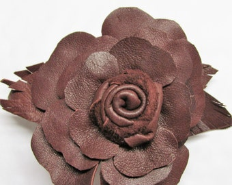 Brown leather rose flower barrette, leather hair clip, brown flowers, brown leather french barrette, other colours made 2 order by Ruby62 UK
