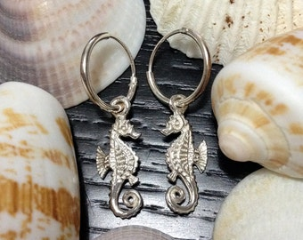 Hippocampus Earrings Hoop Round, 925 Sterling Silver