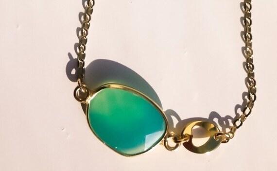 Aqua chalcedony, gold heart bracelet