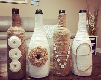 Twine LOVE Wine Bottles, upcycled wine bottles, country rustic wedding, wedding decor, wine bottle decor, centerpiece, farmhouse decor