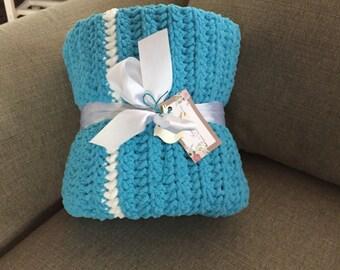 Handmade Chunky Blue & White Multi-Colored Crocheted Baby Blanket