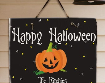 Personalized Halloween Welcome Sign, Happy Halloween Sign,Slate Wall Hanging
