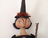 "Reserved for Dina Olofson - On Sale !!! Witch Doll 'Leandra', a 29"" tall OOAK Primitive Folk Art FAAP, HAFAIR Halloween Witch Cloth Doll"