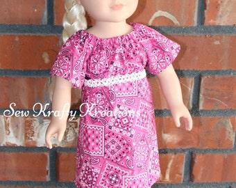 "Pink Bandanna Print Doll Dress for 18"" doll like American Girl"
