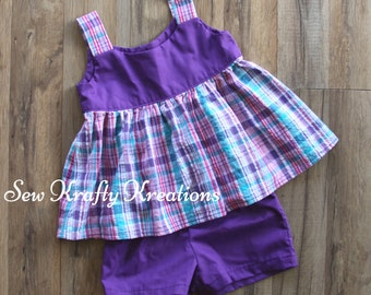 Girl's 2 Piece Set - Purple with Purple/Teal Plaid and Purple Cotton Shorts