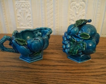 INARCO Blue Mood Indigo Sugar and Creamer Grapes made in Japan #2373