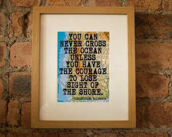 Christopher Columbus Inspirational Travel Quote Print - Hand-Pulled Screenprint.