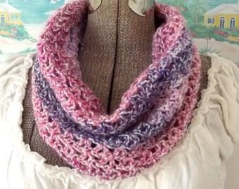 Handmade Crochet Cowl Pullover Pink Purple Lavender Soft Scarflet Collar Scarf
