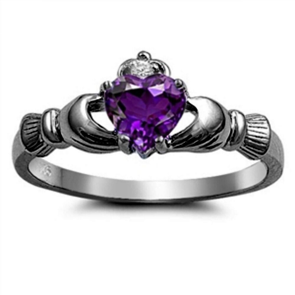 Claddagh Wedding Fidelity Ring Sterling Silver Black Gold