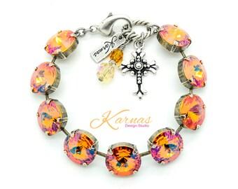 SUMMER BLUSH 14mm Crystal Rivoli Bracelet Made With Swarovski Elements *Pick Your Finish *Karnas Design Studio *Free Shipping