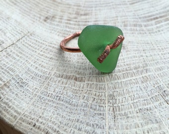 Seaglass copper ring. Electroformed copper. Wire wrapped seaglass. Welsh seaglass. Brown green seaglass