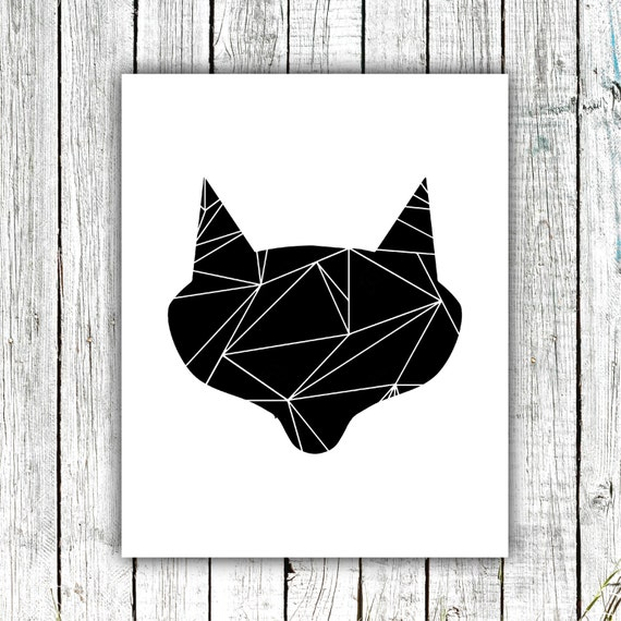 Nursery Art, Fox Print, Geometric, kids decor, Printable Art, Digital Download Size 8x10 #556