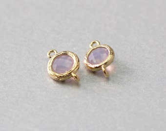 Violet Opal Round Glass Connector . Polished Gold Plated . Brass Framed . 10 Pieces / G1027G-VO010