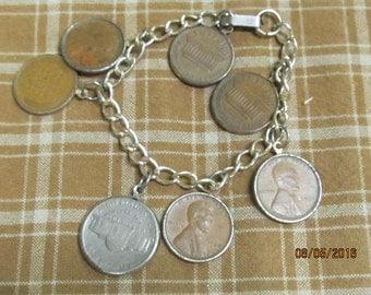 Vintage Chain Bracelet American US Coins Pennies Nickle 1937 1960 Jewelry
