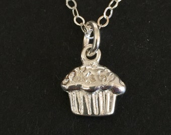 Cupcake Charm Necklace, Sterling Silver Cupcake Charm, Cupcake Pendant, Cupcake Jewelry, Delicate Cupcake Charm, Cupcakes