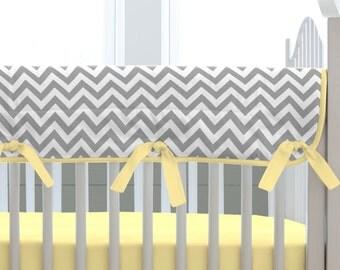Boy Crib Bedding: Gray and Yellow Zig Zag Crib Rail Cover by Carousel Designs