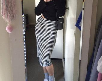 90s high waist houndstooth skirt / xs