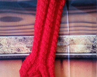 Hand Knit Cabled Stocking
