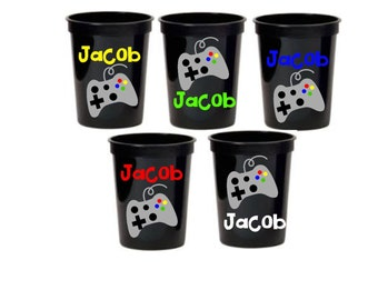 Video Games, Gamers, Children's Party Favor Cups, Set of 5, Many colors to Choose From