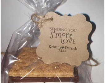 DIY Smores S'mores Kits for Weddings Parties Thank You Favors Tags Flourish Square Personalized DIY Wedding Rustic Kit