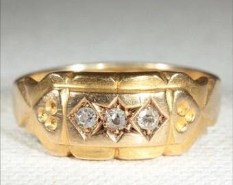 SALE Antique 18k Edwardian Diamond Ring Hallmarked Chester 1902