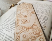"ART NOUVEAU Bookmark, etched wood with beads Cosmic Lover - 20cm/ 8"" approx - Laser cut wood bookmark - exclusive design by Medusa Dollmaker"