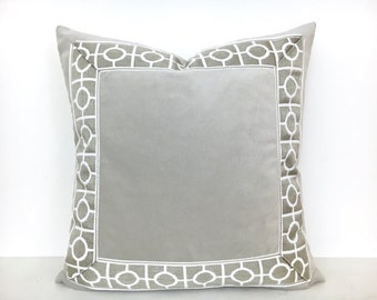 Grey Velvet Pillow Cover with Geometric Trim