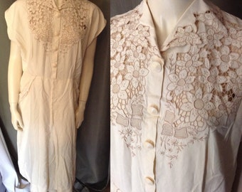 Early 40's XL Ivory Silk Floral Embroidered Cut Out Day Dress w/Pockets!!