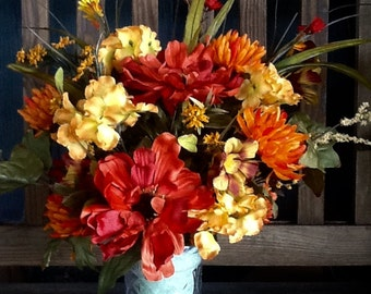 Cemetery fall silk arrangement