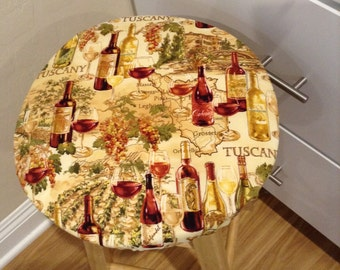 Wine print elasticized round barstool cover, kitchen counterstool seat cover, various fabrics available, washable cotton fabric vineyard
