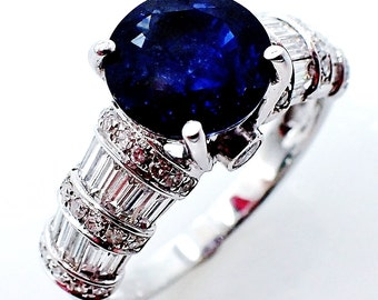 2.46 ct Blue Round Cut Natural Sapphire & Diamond Ring GIA Certified - GIA G. G Appraisal