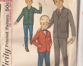 Simplicity 5657 Child Boys Jacket and Slacks Pattern Size 6, Chest 24. Vintage 1964