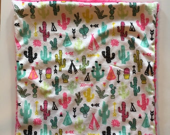 cactus arrow tp lovey security blanket 15 inches x 15 inches, minky nursery, girl baby shower gift, toddler security blanket, arrows, modern