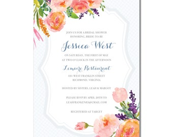 Bridal Shower Invitation | Watercolor Flowers Shower Invite | Script Floral Bridal Shower Invite | DIY Option Available | Invitation | #136