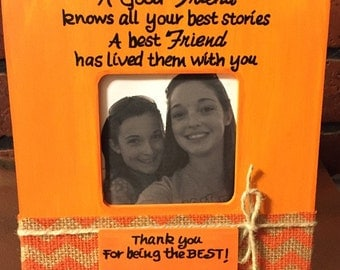 Best Friend Picture Frame, GIFT for Best Friend,  Orange Chevron decor, Personalized frame, Picture Frame with Quote, Names of frames