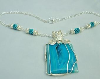 Blue drusy onyx necklace