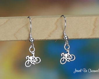 Tiny Sterling Silver Bike Earrings Fishhook Earwires Solid 925 Bicycle