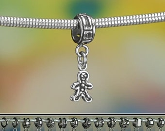 Tiny Sterling Silver Gingerbread Man Charm or European Charm Bracelet