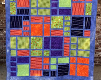 Purple, Orange, Lime Green Modern Lap Throw Quilt
